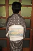 陶絵模様の掬いの帯に十日町紬