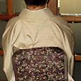 萩紋のしゃれ袋に墨絵模様の紬