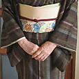 久米島紬に紅型模様の染帯