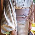 塩沢紬に牡丹と蝶柄の掬い名古屋帯