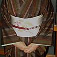久米島紬にがまずみ模様の染帯