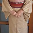 飯田紬に縞の紬の帯