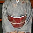 染紬の小紋に織り名古屋帯