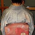橘模様の織り名古屋帯に染紬の小紋