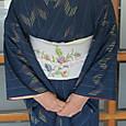 琉球絣に唐花模様の染帯