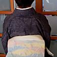 陶絵模様の掬い名古屋帯に十日町結城紬